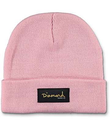 Diamond Supply Co Gold Foil Pink Beanie