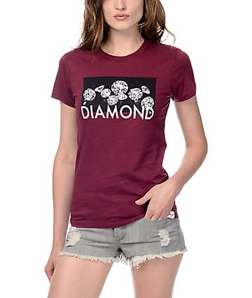 Diamond Supply Co Jewel Burgundy Boyfriend T-Shirt