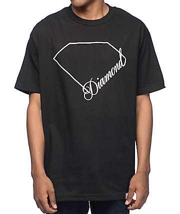 Diamond Supply Co Linear Script Black T-Shirt