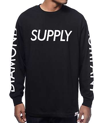Diamond Supply Co Long Sleeve Black T-Shirt