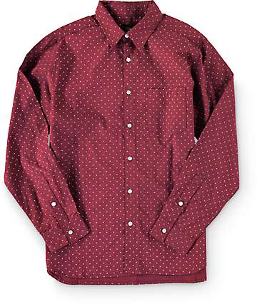 Diamond Supply Co Micro Diamond Burgundy Long Sleeve Button Up