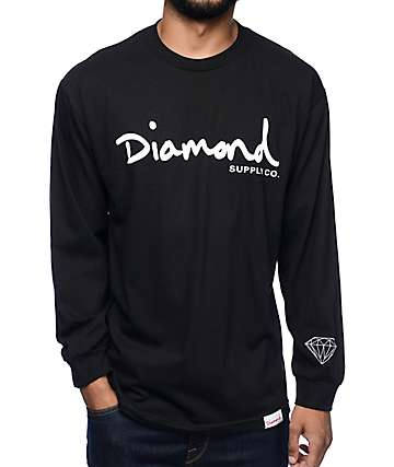 Diamond Supply Co OG Script Black Long Sleeve T-Shirt