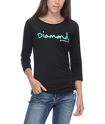 Diamond Supply Co OG Script Black Raglan T-Shirt