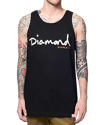 Diamond Supply Co OG Script Black Tank Top