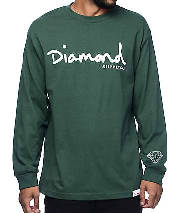 Diamond Supply Co OG Script Green Long Sleeve T-Shirt