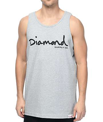 Diamond Supply Co OG Script Grey Tank Top