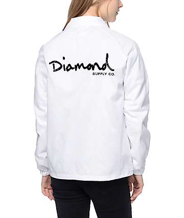 Diamond Supply Co OG Script White Coaches Jacket