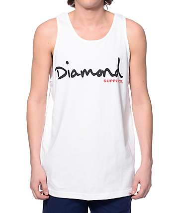 Diamond Supply Co OG Script White Tank Top