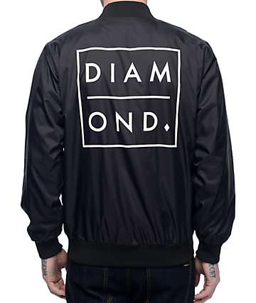 Diamond Supply Co Outline Black Nylon Bomber Jacket