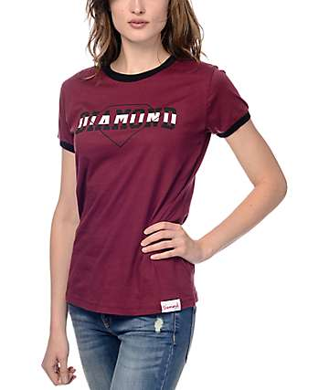Diamond Supply Co Overlap Burgundy & Black Ringer T-Shirt