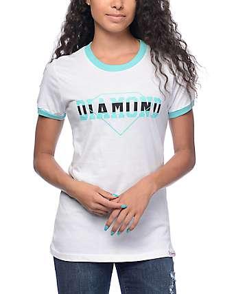 Diamond Supply Co Overlap camiseta ringer en azul y blanco