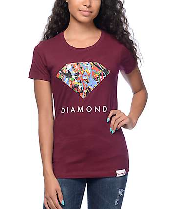 Diamond Supply Co Painted Diamond Burgundy T-Shirt