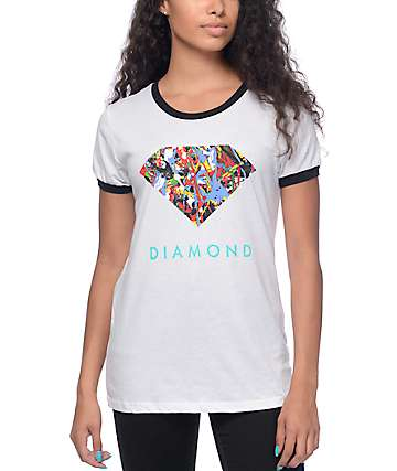 Diamond Supply Co Painted Diamond White & Black Ringer T-Shirt