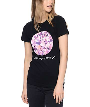 Diamond Supply Co Pink Simplicity Black T-Shirt