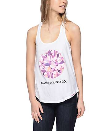 Diamond Supply Co Pink Simplicity White Racerback Tank Top