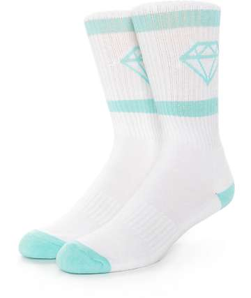 Diamond Supply Co Rock Sport White & Mint Crew Socks