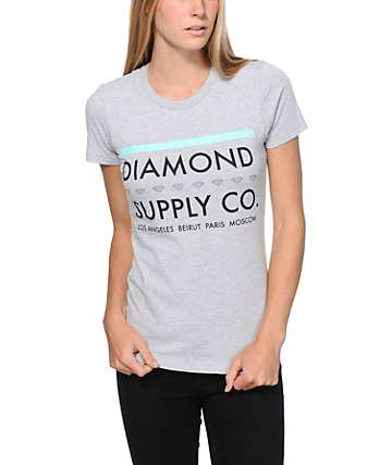 Diamond Supply Co Roots Heather Grey Boyfriend Fit T-Shirt