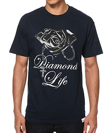 Diamond Supply Co Rose Brilliant Navy T-Shirt