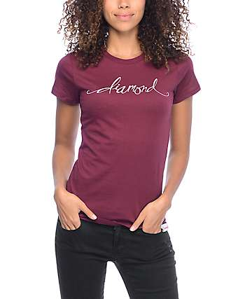 Diamond Supply Co Scripted Burgundy Boyfriend T-Shirt