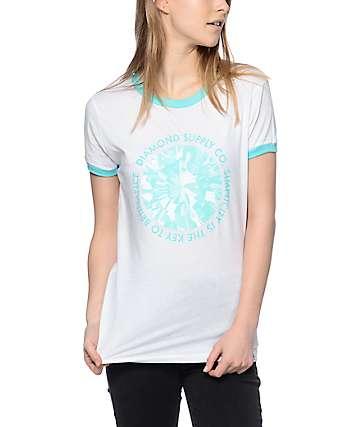 Diamond Supply Co Simplicity White & Mint Ringer T-Shirt