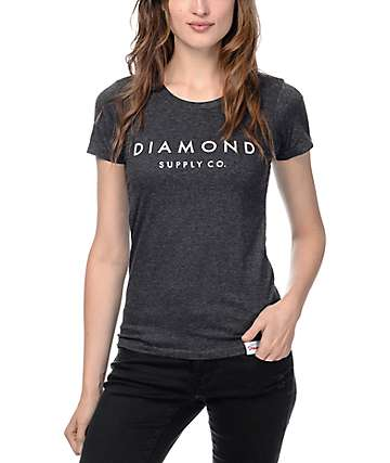 Diamond Supply Co Solid Stone Heather Grey Boyfriend T-Shirt