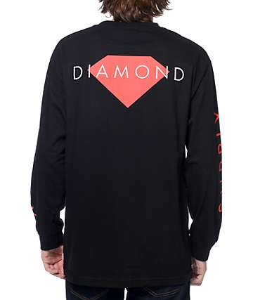 Diamond Supply Co Solid camiseta negra de manga larga