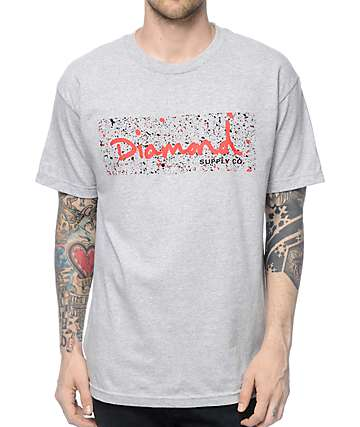 Diamond Supply Co Splatter Box Logo Grey & Red T-Shirt