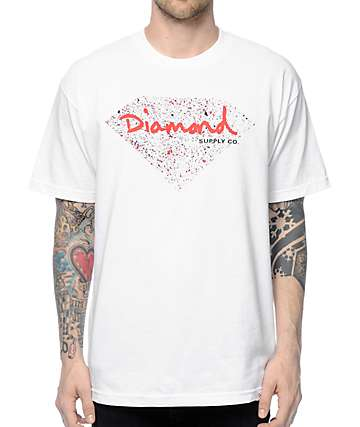 Diamond Supply Co Splatter White & Red T-Shirt
