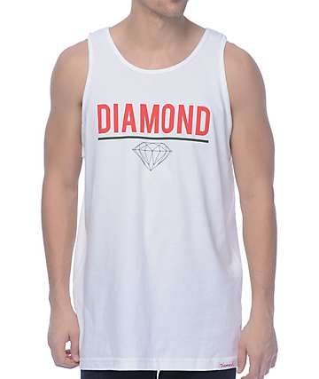 Diamond Supply Co Strike White Tank Top