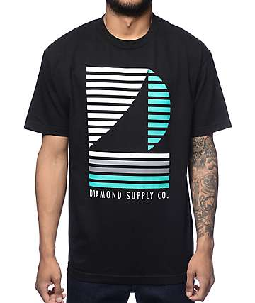 Diamond Supply Co Stripe Boat Black T-Shirt