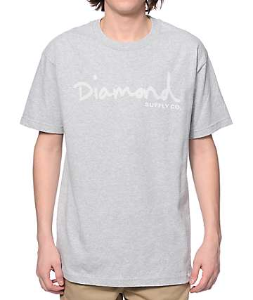 Diamond Supply Co Tonal OG Script Heather Grey T-Shirt