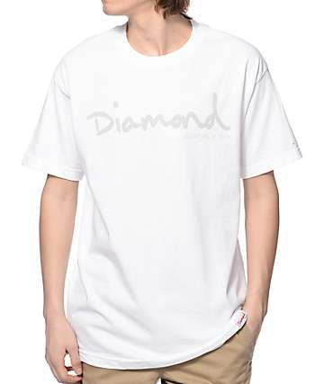 Diamond Supply Co Tonal OG Script White T-Shirt