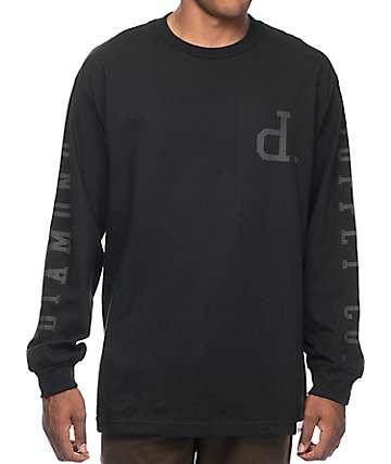 Diamond Supply Co Tonal Un-Polo camiseta negra de manga larga