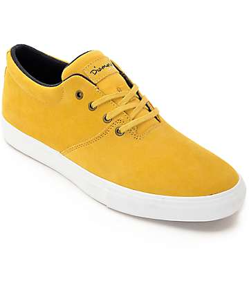 Diamond Supply Co Torey Mustard & White Skate Shoes