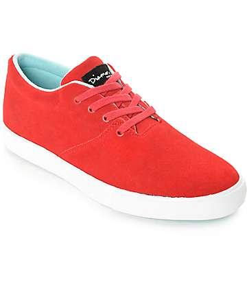 Diamond Supply Co Torey Red & White Suede Skate Shoes