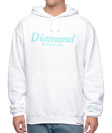 Diamond Supply Co Typeset White Hoodie