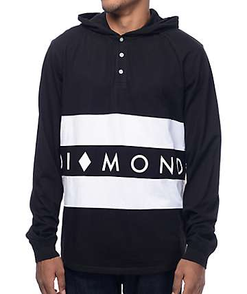 Diamond Supply Co Winston camiseta negra de manga larga con capucha