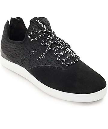 Diamond Supply Co. All Day Black & White Suede Skate Shoes