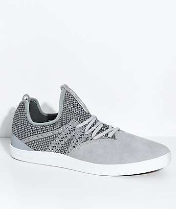 Diamond Supply Co. All Day Grey, White Knit & Suede Skate Shoes