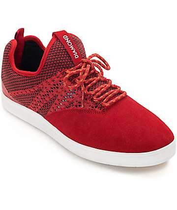 Diamond Supply Co. All Day zapatos de skate de ante en negro y rojo