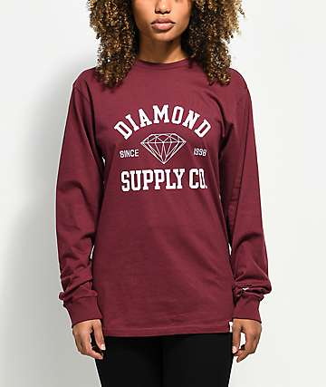 Diamond Supply Co. Athletic Logo Burgundy Long Sleeve T-Shirt