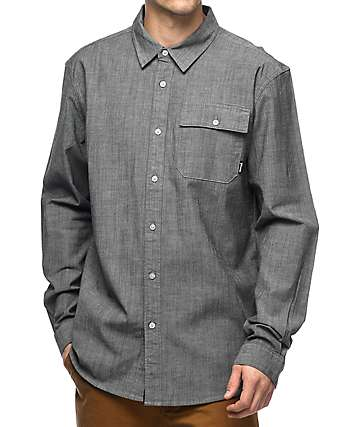 Diamond Supply Co. Black Chambray Long Sleeve Button Up Shirt