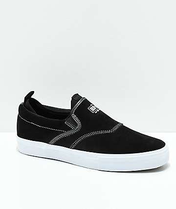 Diamond Supply Co. Boo-J XL All Black Synthetic Rubber & Suede Slip-On Skate Shoes