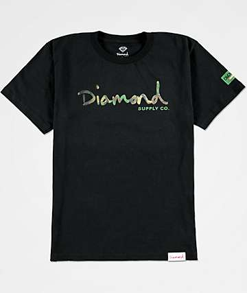 Diamond Supply Co. Boys Camo OG Script Black T-Shirt