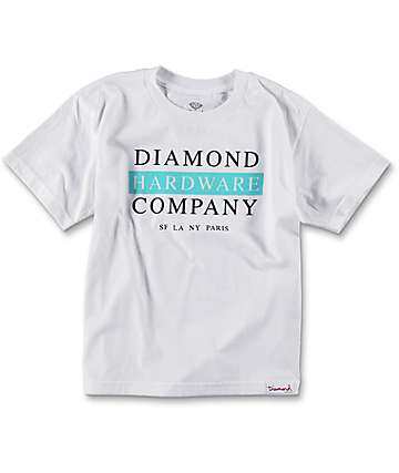 Diamond Supply Co. Boys Hardware Stack camiseta en blanco