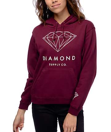 Diamond Supply Co. Brilliant Burgundy & White Pullover Hoodie