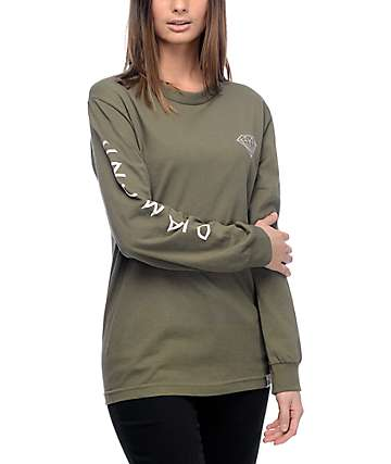 Diamond Supply Co. Brilliant Military Green Long Sleeve T-Shirt