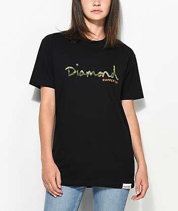 Diamond Supply Co. Camo OG Script camiseta ancha en negro