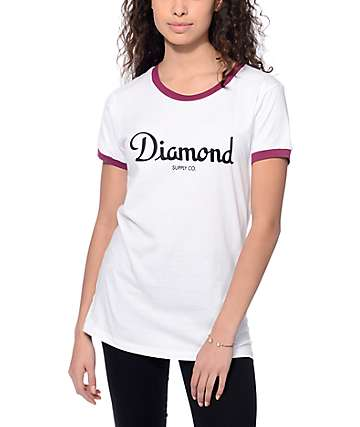 Diamond Supply Co. Champagne Script Burgundy Ringer T-Shirt