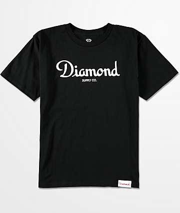 Diamond Supply Co. Champagne Script camiseta negra para niños